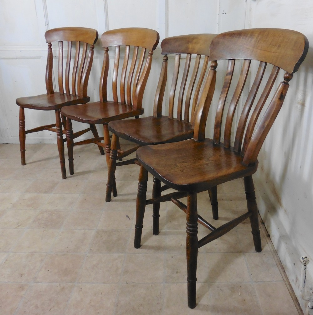 Set Of 4 Beech & Elm Country Kitchen Dining Chairs ...